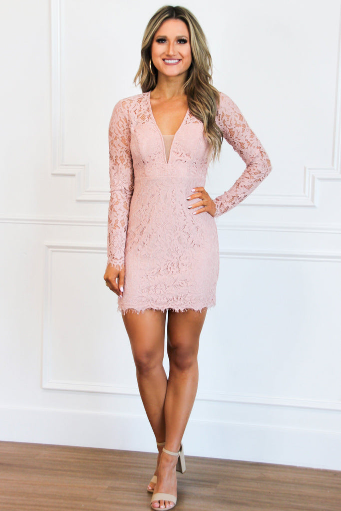 Sweet Lace Dress: Dusty Blush - Bella and Bloom Boutique