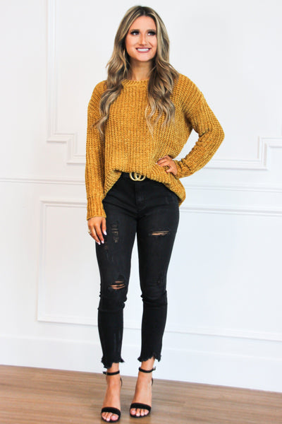 Fall Feels Chenille Sweater: Mustard - Bella and Bloom Boutique