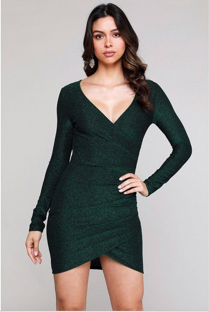 RESTOCK: Showstopper Shimmer Dress: Hunter Green - Bella and Bloom Boutique