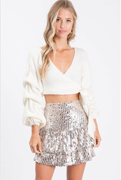 Light Up the Night Skirt: Champagne - Bella and Bloom Boutique