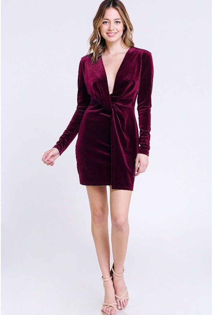 Found You Like a Melody Velvet Dress: Burgundy - Bella and Bloom Boutique