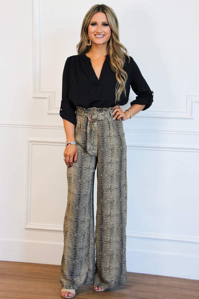 Spotted Chic Pants: Taupe - Bella and Bloom Boutique