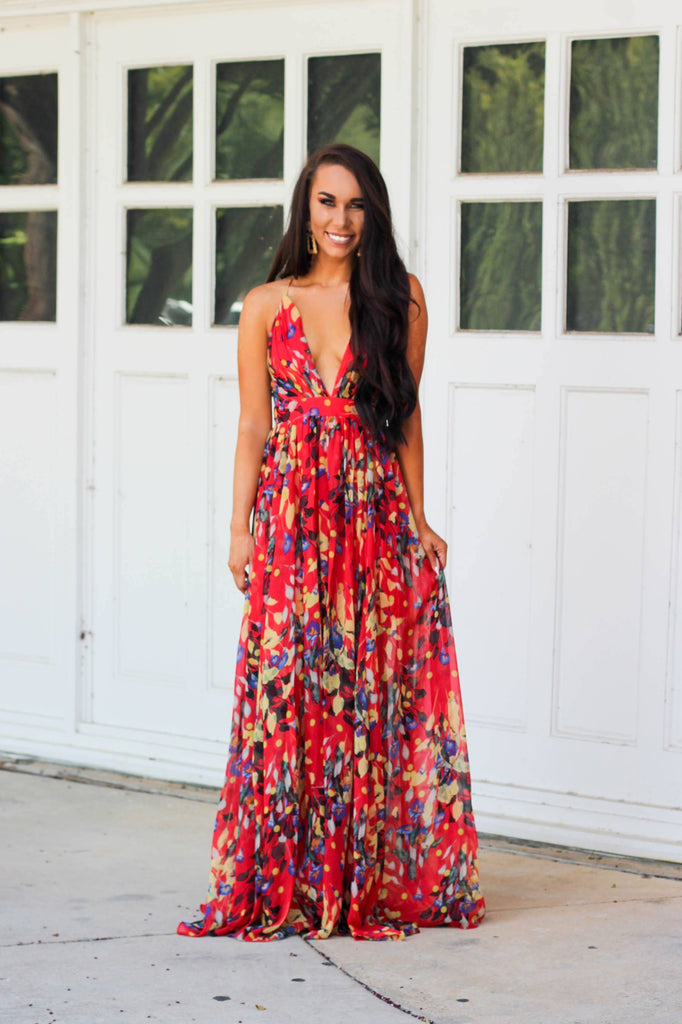 Hawaiian Nights Maxi Dress: Red Multi - Bella and Bloom Boutique