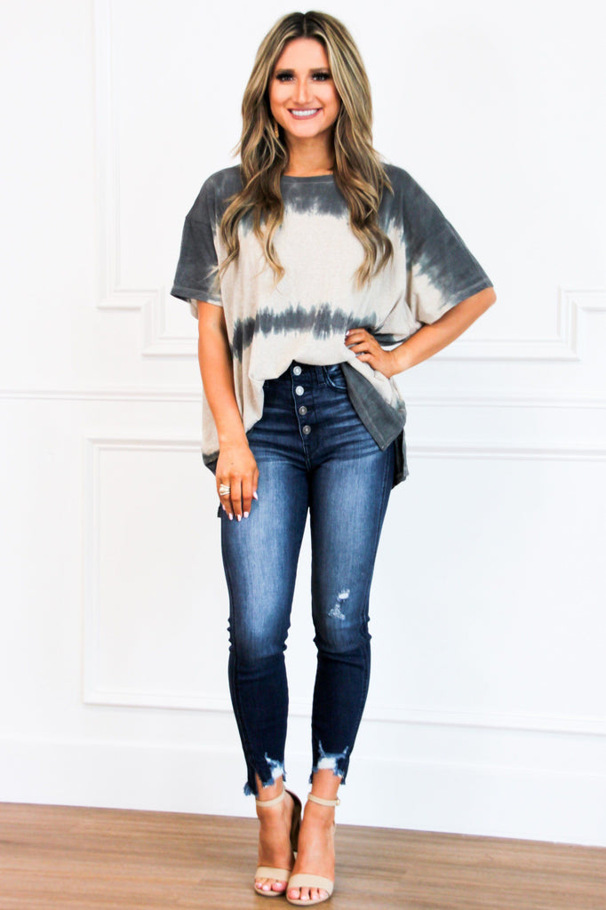 Easy Going Tie Dye Top: Charcoal - Bella and Bloom Boutique