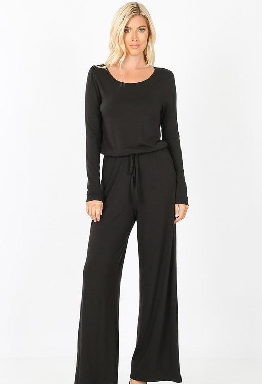 RESTOCK: Classic Drawstring Jumpsuit: Black - Bella and Bloom Boutique