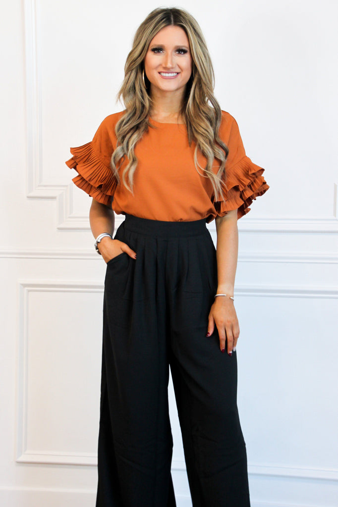 RESTOCK: Grace Ruffle Top: Rust - Bella and Bloom Boutique