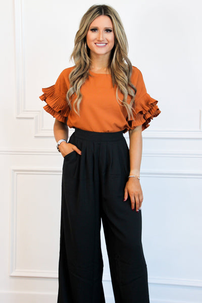 PRE-ORDER: Grace Ruffle Top: Rust - Bella and Bloom Boutique