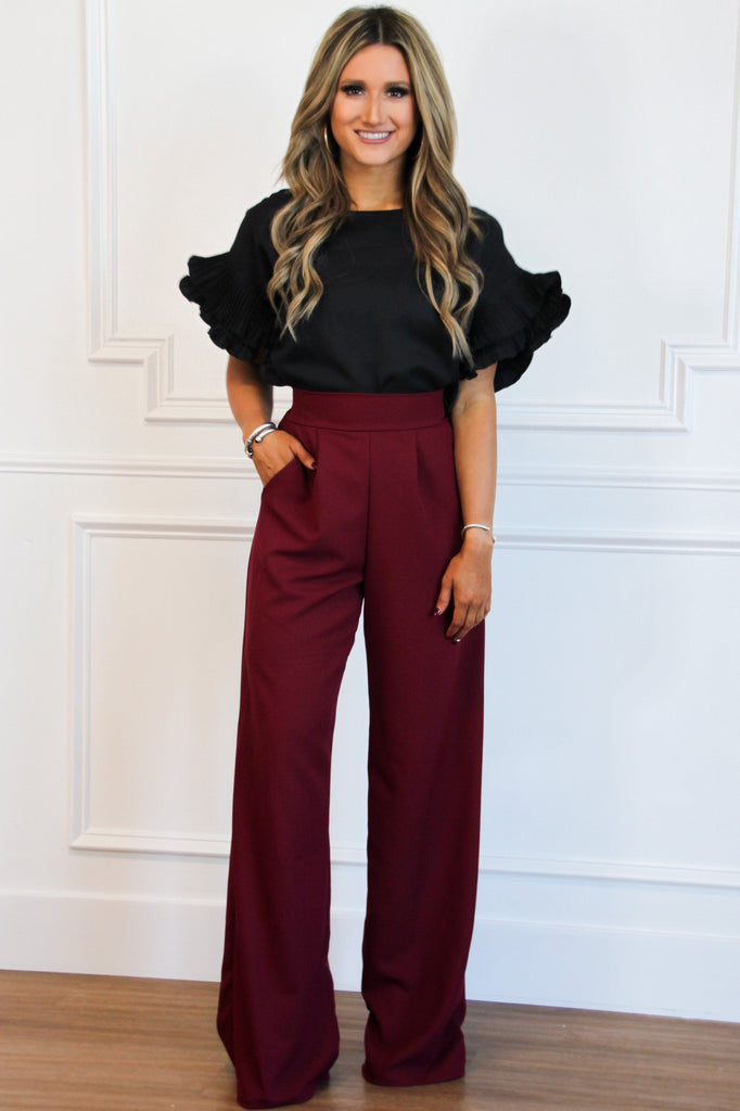 PRE-ORDER: Fall Chic Pants: Burgundy - Bella and Bloom Boutique