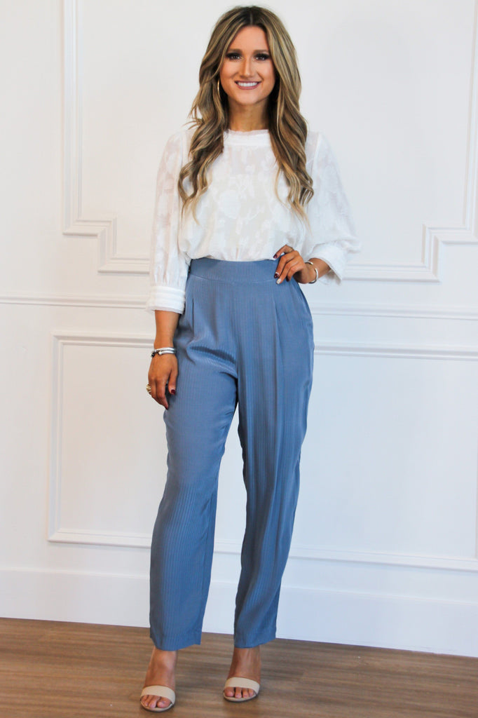 Workin' Woman Pants: Dusty Blue - Bella and Bloom Boutique