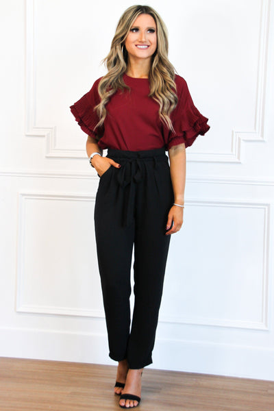 PRE-ORDER: Grace Ruffle Top: Burgundy - Bella and Bloom Boutique
