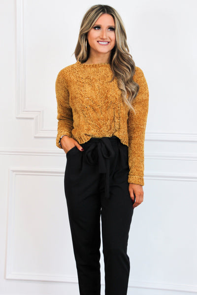 Fall Favorite Crop Sweater: Mustard - Bella and Bloom Boutique