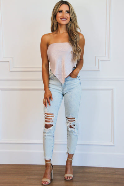 Right on Trend Bandana Crop Top: Taupe Bottoms Bella and Bloom Boutique