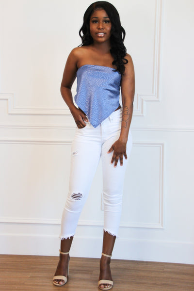 Right on Trend Bandana Crop Top: Indigo Bottoms Bella and Bloom Boutique