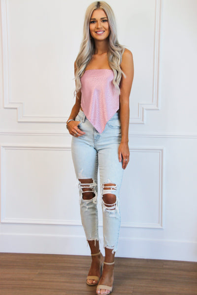 Right on Trend Bandana Crop Top: Pink Bottoms Bella and Bloom Boutique