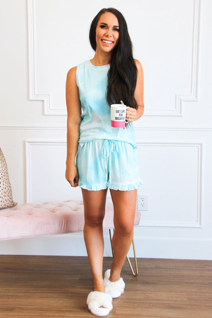 Movie Night Two Piece Set: Light Blue/White - Bella and Bloom Boutique