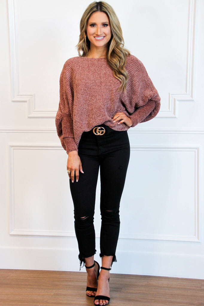 Vera Chenille Dolman Sweater: Marsala - Bella and Bloom Boutique