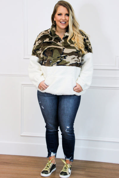 Fuzzy Camo Pullover: Camo - Bella and Bloom Boutique
