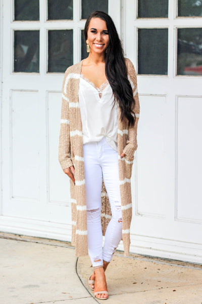 Fall Crush Cardigan: Tan/White - Bella and Bloom Boutique