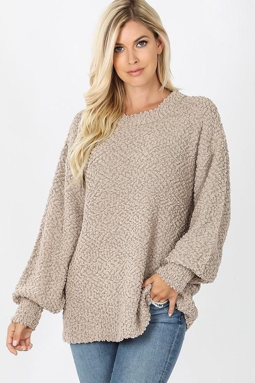 Want You Back Popcorn Sweater: Mocha - Bella and Bloom Boutique