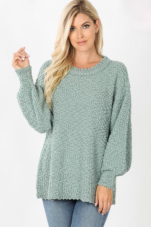 Want You Back Popcorn Sweater: Sage - Bella and Bloom Boutique