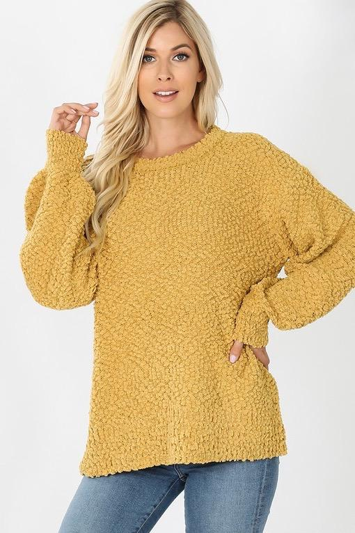 Want You Back Popcorn Sweater: Mustard - Bella and Bloom Boutique