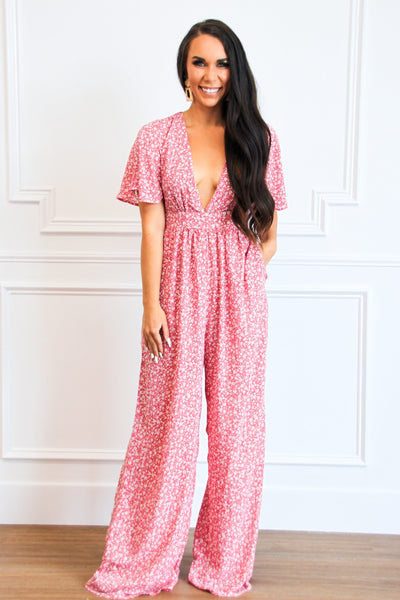 RESTOCK: Blooming Florals Jumpsuit: Light Pink - Bella and Bloom Boutique