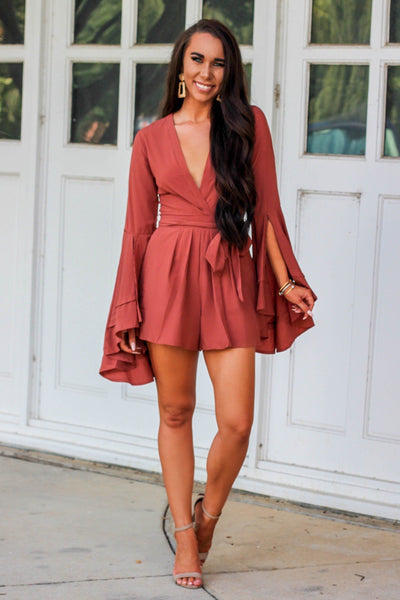 RESTOCK: Autumn Bliss Romper: Rust - Bella and Bloom Boutique