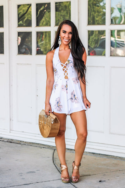 Summer of '69 Romper: White Floral