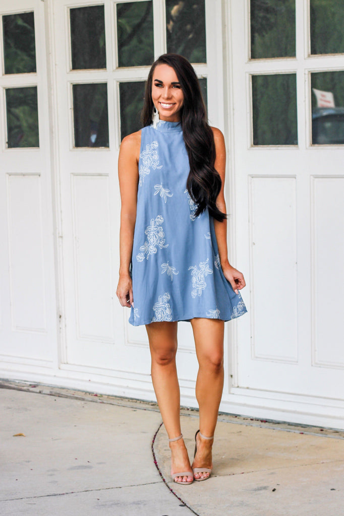 Boho Babe Dress: Dusty Blue - Bella and Bloom Boutique