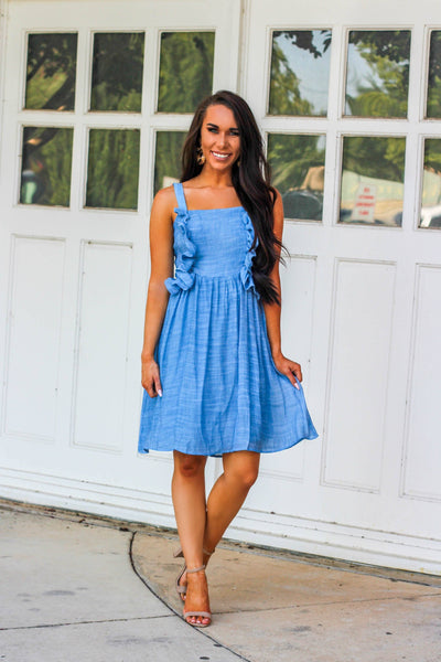 Classy and Cute Dress: Chambray - Bella and Bloom Boutique