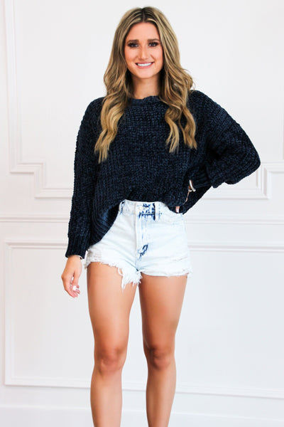 RESTOCK: Soft As Clouds Chenille Sweater: Navy - Bella and Bloom Boutique