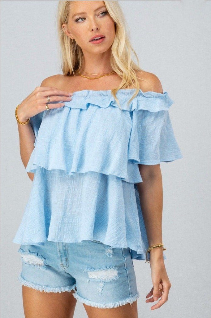 RESTOCK: Summer Crush Top: Light Blue - Bella and Bloom Boutique