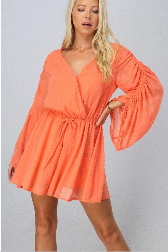 RESTOCK: Breezy Days Swiss Dot Romper: Bright Coral - Bella and Bloom Boutique