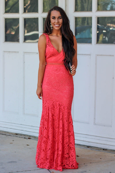 Bright As You Maxi Dress: Coral - Bella and Bloom Boutique