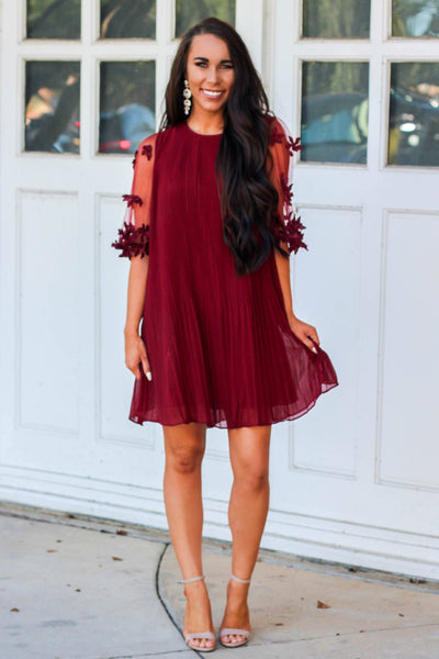 Love Out Loud Dress: Burgundy - Bella and Bloom Boutique
