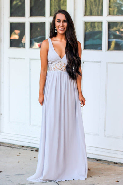 Heaven Knows Maxi Dress: Light Gray - Bella and Bloom Boutique