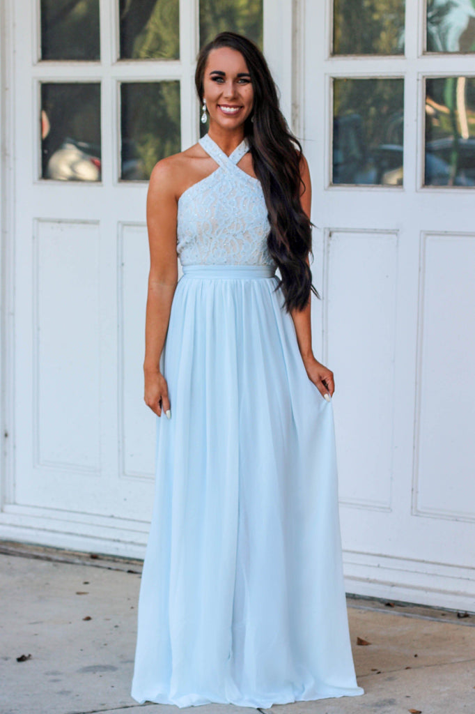 Delicate Love Maxi Dress: Light blue - Bella and Bloom Boutique