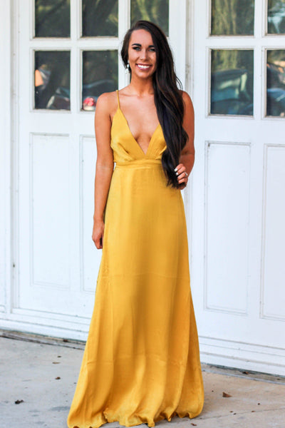 RESTOCK: Belle of the Ball Maxi Dress: Mustard - Bella and Bloom Boutique