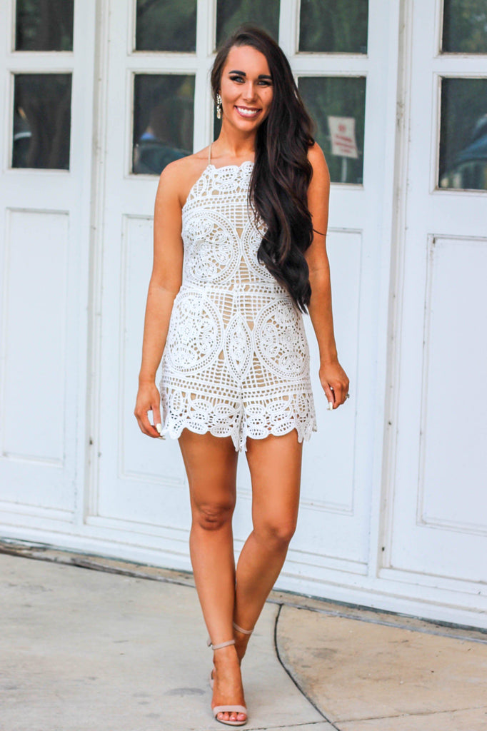 Wedded Bliss Romper: White/Nude - Bella and Bloom Boutique