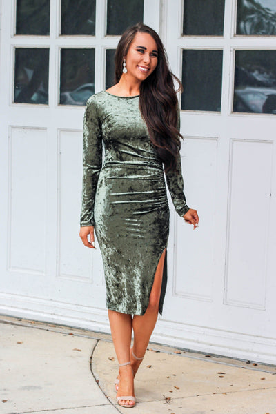 RESTOCK: Caught My Eye Dress: Olive - Bella and Bloom Boutique