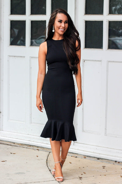RESTOCK: Bella Midi Dress: Black - Bella and Bloom Boutique