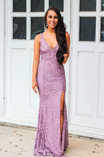 Love and Lace Maxi Dress: Mauve - Bella and Bloom Boutique