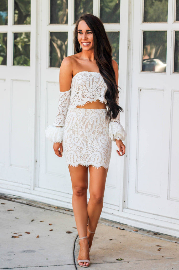 RESTOCK: Put a Ring on It Two Piece Set: White - Bella and Bloom Boutique