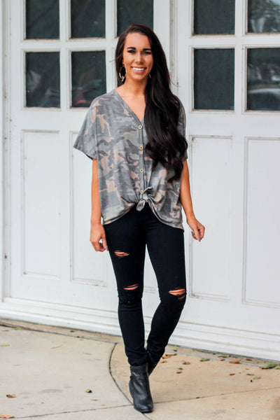 Camo Crush Top: Army Green - Bella and Bloom Boutique