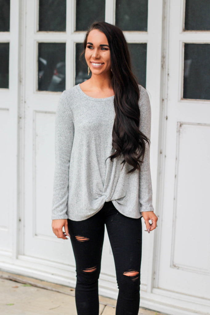 Get Some Rest Sweater: Gray - Bella and Bloom Boutique