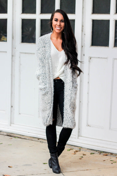 Cloud Cardigan: Gray - Bella and Bloom Boutique
