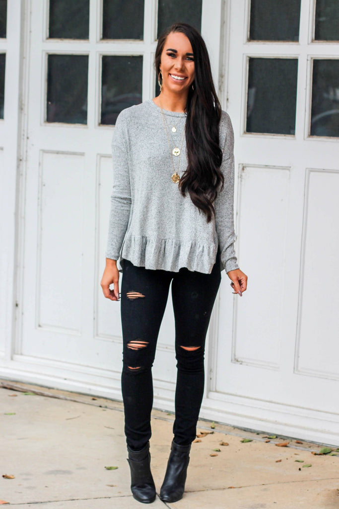 Heaven's Touch Sweater: Gray - Bella and Bloom Boutique