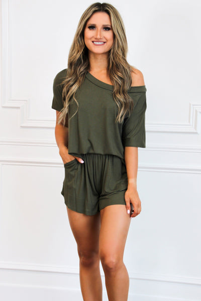 Loungewear Lovin' Two Piece Set: Olive - Bella and Bloom Boutique