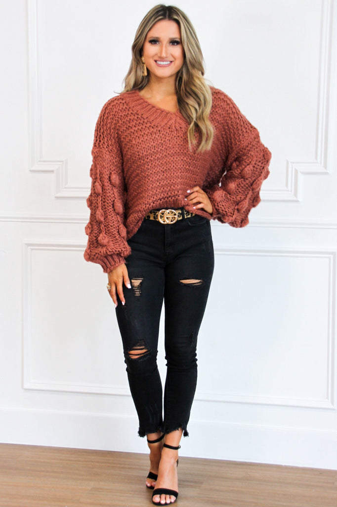 Back to December Sweater: Brick - Bella and Bloom Boutique