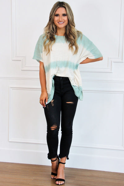 Easy Going Tie Dye Top: Sage - Bella and Bloom Boutique